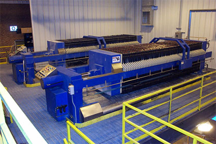 Twin 1,200 mm - 100 ft3 filter presses at chemical plant