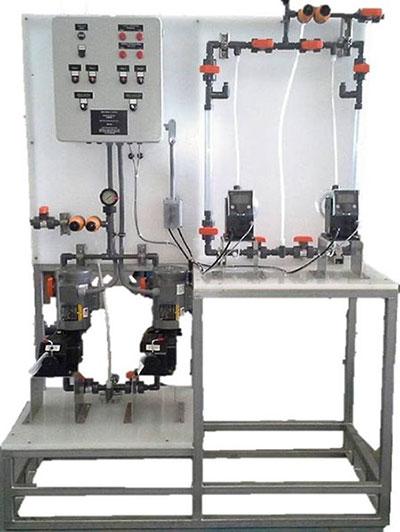 felt wash skid dual cleaner dosing system