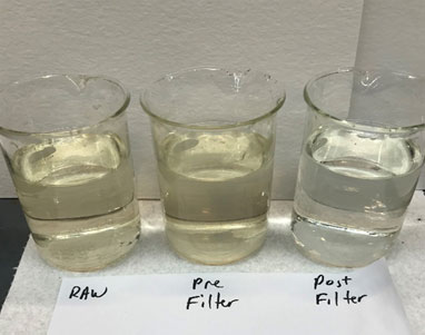 paper mill water samples: raw, pre filter, post filter
